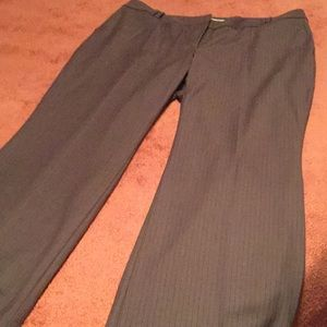 LOFT PETITE BROWN PINSTRIPED TROUSERS UNLINED NWOT